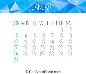 januari, kalender, 2016