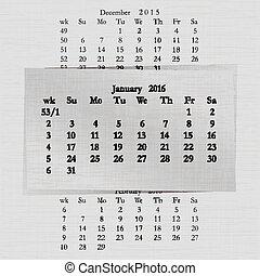 januari, kalender, 2016, pagina's, maand