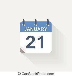 januari, kalender, 21, pictogram