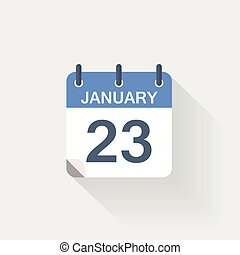 januari, kalender, 23, pictogram