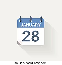 januari, kalender, 28, pictogram