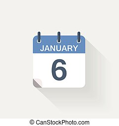 januari, kalender, 6, pictogram