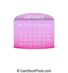 januari, kalender, vector, illustratie, 2015.