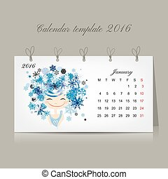 januari, meiden, seizoen, kalender, 2016, ontwerp, month.