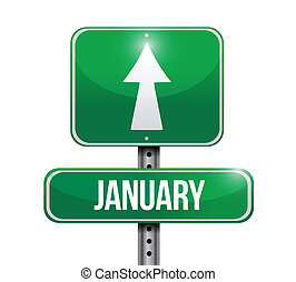 januari, ontwerp, illustratie, meldingsbord
