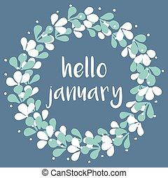 januari, vector, hallo, kaart, winter