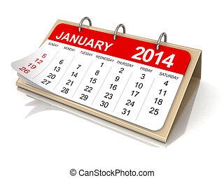 january, 日曆, -, 2014