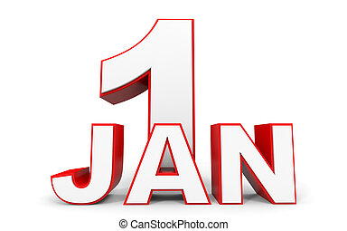 January 1. 3d text on white background. Illustration.