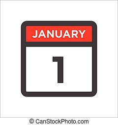 January 1 calendar icon including day of month
