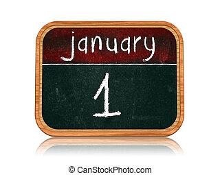 January 1 on blackboard banner