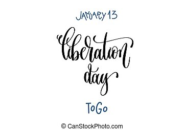 january 13 - liberation day - togo, hand lettering...