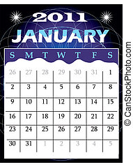 January 2011 - Vector Illustration of 2011 Calendar with a...