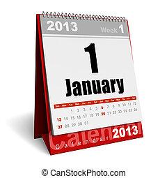 January 2013 calendar - New Year concept: January 2013...