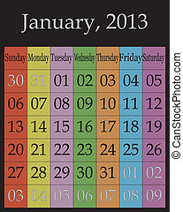 January, 2013 - Jahuary, 2013 - calendar on specific color...