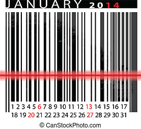JANUARY 2014 Calendar, Barcode Design. vector illustration
