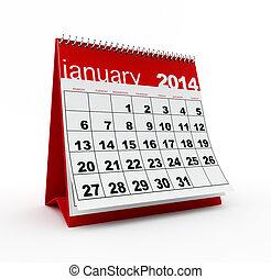 January 2014 calendar on white