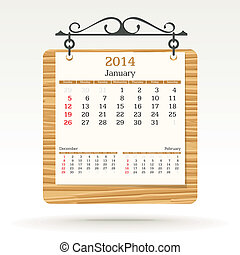 january 2014 - calendar - vector illustration