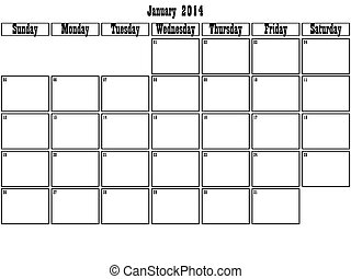 January 2014 planner big space