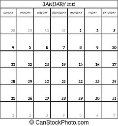 JANUARY 2015 CALENDAR PLANNER MONTH ON TRANSPARENT BACKGROUND