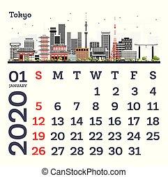 January 2020 Calendar Template with Tokyo City Skyline.