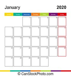 January 2020 colorful wall calendar, week starts on Monday. 2020 Calendar template.