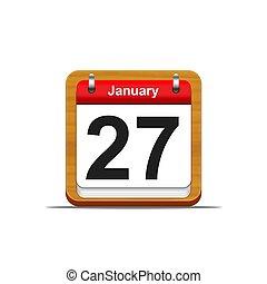 January 27. - Illustration elegant wooden calendar on white...
