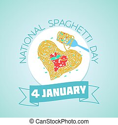 Calendar for each day on january 4. Greeting card. Holiday - National Spaghetti Day. Icon in the linear style