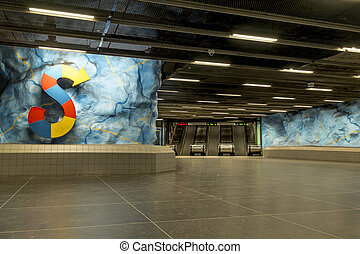 """The interior and the escalators of station """"Stadion"""" in Stockholm metro. Sweden."""
