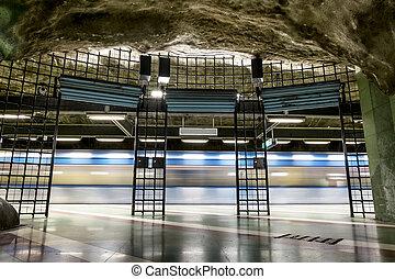 "The interior and the platform of station ""Kungstragarden"" in Stockholm metro. Sweden."