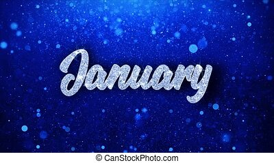 January Blue Text Wishes Particles Greetings, Invitation, ...