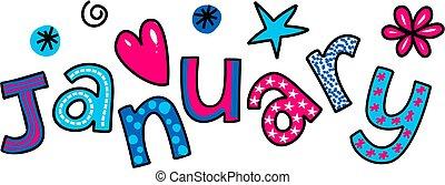January Clip Art - Whimsical cartoon text doodle for the...