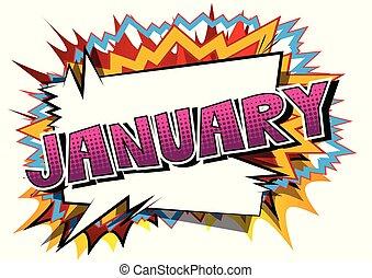January - Comic book style word