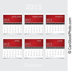 (january, eenvoudig, mei, april, jaar, 2015, kalender,...