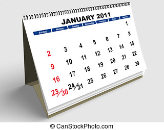 January English - January sheet in a Calendar for 2011. 3d...