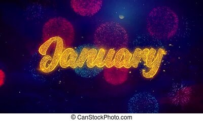 January Greeting Text Sparkle Particles on Colored Fireworks...