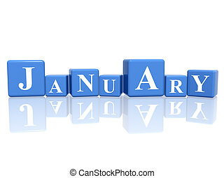 january in 3d cubes - 3d blue cubes with letters makes...