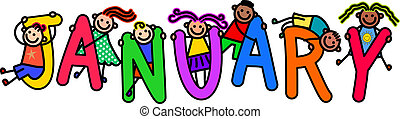 A group of happy stick children climbing over letters of the alphabet that spell out the word JANUARY.