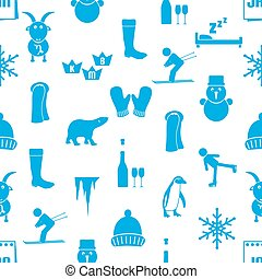 january month theme set of simple icons seamless pattern eps10