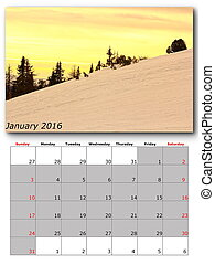 january nature calendar page layout