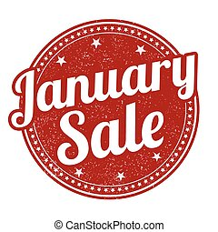 January sale grunge rubber stamp on white, vector illustration
