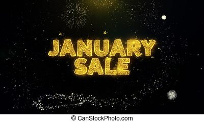 January Sale Text on Gold Particles Fireworks Display. - ...