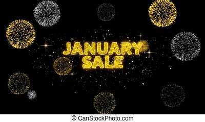 January Sale Text Reveal on Glitter Golden Particles ...