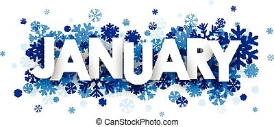 January sign. - January sign with snowflakes. Vector...