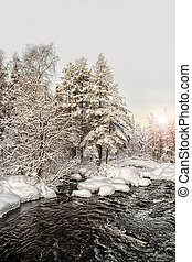 January sun. Winter landscape with the river Tukhkapaduk (threshold Tuhka) in the north of Karelia. Russia