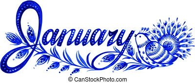 January, name of the month, hand drawn, vector, illustration in Ukrainian folk style