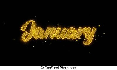 January Typography Written with Golden Particles Sparks...