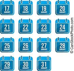 January vector flat calendar icons with long shadow. Calendar Days Of Year Set 8