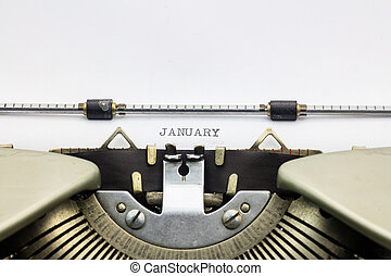 January word in capital letters on white sheet