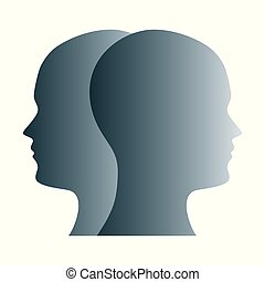 Janus face symbol made of gray silhouettes of two heads. Two...