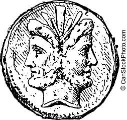 Janus, vintage engraving. - Janus, vintage engraved...